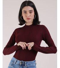 blusa feminina básica em tricô manga longa vinho