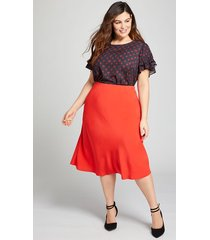 lane bryant women's textured midi skirt 22 flame scarlet