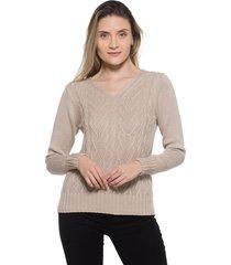 blusa passion tricot relevo areia