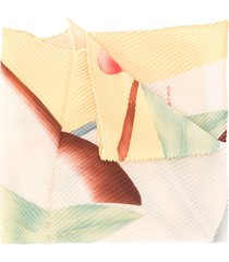 etro foliage-print pleated scarf - yellow