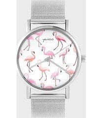 zegarek - flamingi - metalowy