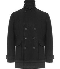 casaco masculino bolso chapado faixa na barra - preto