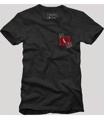 camiseta bolso xadrez retalho reserva preto