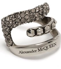 alexander mcqueen woman ear cuff with logo and crystals