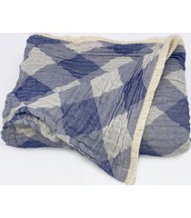 "plaid tri-weave matelasse cotton throw blanket, 70"" x 50"""