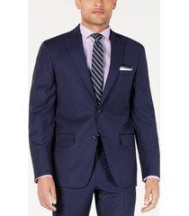 dkny men's modern-fit indigo plaid suit jacket