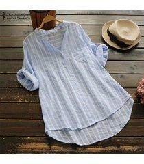 zanzea mujeres asimétrico largo tapas de la camisa irregular ocasional del dobladillo de la blusa de la raya del tamaño extra grande -azul