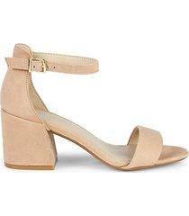 hattie block heel suede ankle-strap sandals