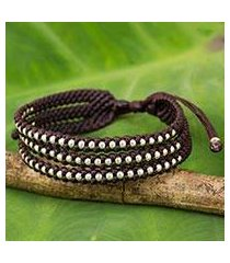 silver accent beaded wristband bracelet, 'dark maroon synergy' (thailand)