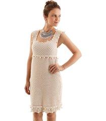 vestido aha tricot pompom off-white