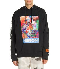 heron preston men's concrete jungle long-sleeve graphic hoodie - black - size xs