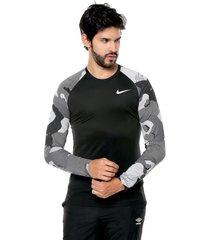 camiseta manga larga negro-gris-blanco nike im camo 1