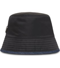 prada re-nylon and denim bucket hat - black