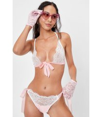 womens here we bow again lace bralette and panty set - white