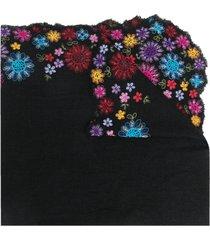 faliero sarti floral-embroidered scarf - black