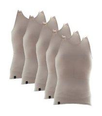 kit com 05 cintas modeladora e postural alta compressáo bodyshaper - slim fitness bege
