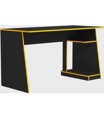 mesa gamer tank preta com bordas amarela