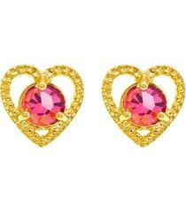 brinco horus import ponto luz coração rosa banhado ouro amarelo 18 k - 1031129