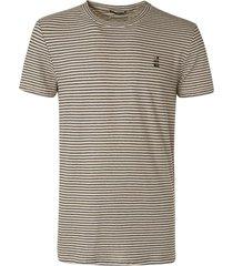 no excess t-shirt crewneck yarn dyed stripe w sand