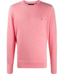 tommy hilfiger embroidered logo pullover - pink