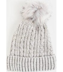 nancy fur pom beanie - gray