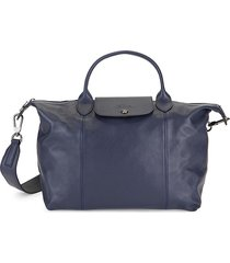 longchamp women's foldable leather satchel - navy