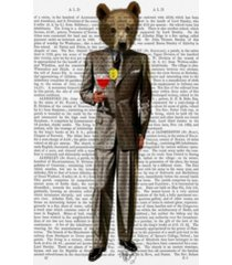 """fab funky bear with cocktail suit canvas art - 27"""" x 33.5"""""""