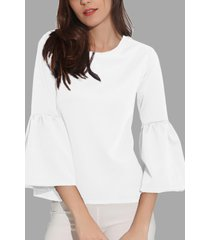 white round cuello lantern sleeves t-shirt