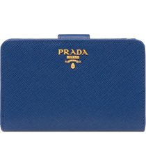 prada logo-plaque folding wallet - blue