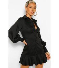 geweven blouse jurk met losvallende zoom, zwart
