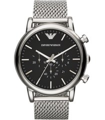 emporio armani men's chronograph stainless steel mesh bracelet watch 46mm ar1808