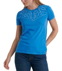 lucky brand embroidered cotton t-shirt
