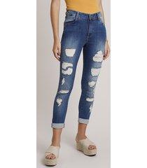 calça jeans feminina sawary skinny cintura média cropped destroyed azul escuro