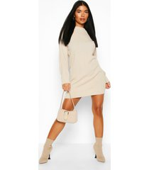 petite knitted rib roll neck sweater dress, stone
