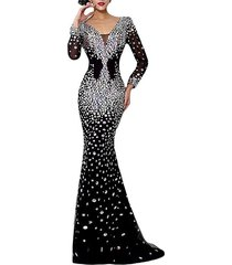 sparkle black mermaid prom dress long sleeves,formal evening dress,party dress