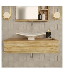 conjunto para banheiro bancada com cuba f44 folha city 800 carvalho