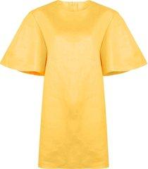 carolina herrera wide sleeves shift dress - yellow
