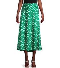 cocobleu women's polka dot charmeuse skirt - jade - size xl