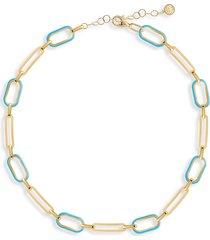 gabi rielle women's soft serve neon 14k gold vermeil & enamel chain choker necklace