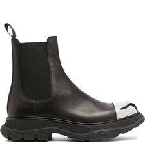 alexander mcqueen contrast toe-cap chelsea boots - black