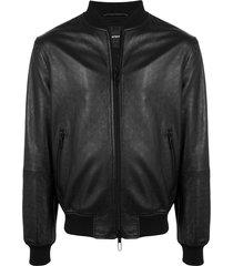 emporio armani embossed bomber jacket - black