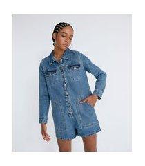 macaquinho curto em jeans com bordado floral na lateral | blue steel | azul | p