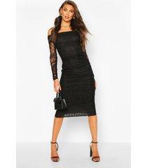 lange dobby-mesh bardot midi-jurk met ruches, zwart