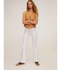 flared jeans met knopen