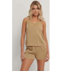 na-kd lingerie lace edge night satin singlet - gold