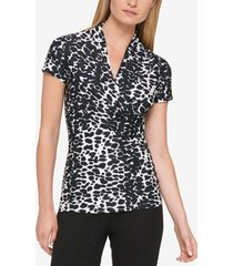 dkny petite animal-print draped surplice blouse, created for macy's