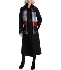 london fog maxi coat & plaid scarf