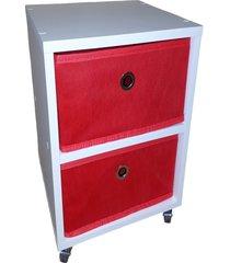 mesa de cabeceira com gaveta mdf branco gaveteiro vermelho