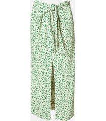 ganni women's printed crepe wrap midi skirt - tapioca - eu 36/uk 8