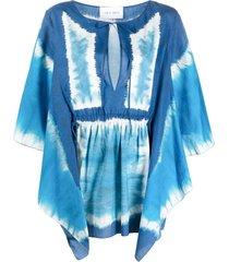 alberta ferretti tie-dye flutter-sleeve tunic top - blue